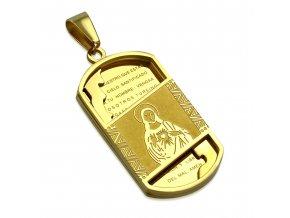 Prívesok známka z chirurgickej ocele, zlatá farba, modlitba, Ježiš Kristus (1)