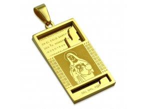 Prívesok známka na retiazku zlatej farby, oceľ, modlitba, Ježiš Kristus (1)
