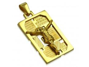 Známka prívesok na retiazku zlatej farby, oceľ, modlitba, Ježiš Kristus (1)
