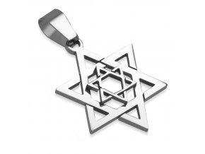 Dvojitý prívesok Dávidova hviezda z ocele, strieborná farba (1)