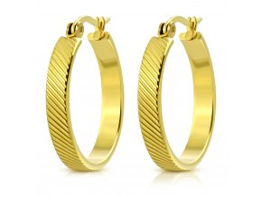 Okrúhle náušnice pre ženu, oceľ zlatej farby, šikmé ryhy 23 mm