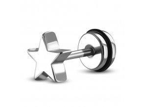 Falošný piercing z ocele, strieborná farba, malá hviezda fake plug (1)