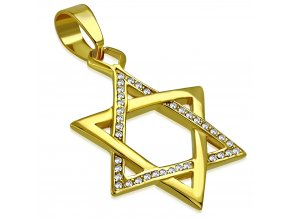 Masívny prívesok Dávidova hviezda z ocele, zlatá farba, číre zirkóny (1)