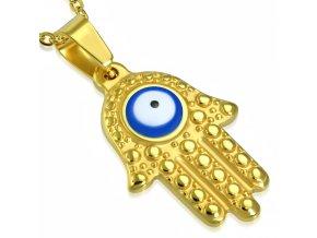 Prívesok z ocele, ruka Fatimy zlatej farby, modré diabolské oko