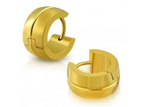 Okrúhle náušnice z chirurgickej ocele, zlatá, stredová ryha
