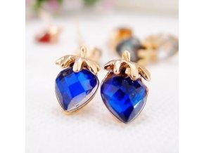 Dámske náušnice, kráľovsky modré jahôdky, bižutéria