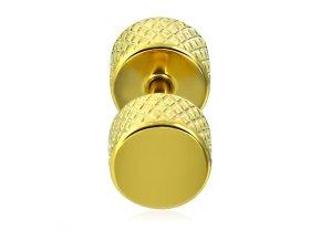 Falošný piercing z chirurgickej ocele, zlatá farba, činka, fake plug