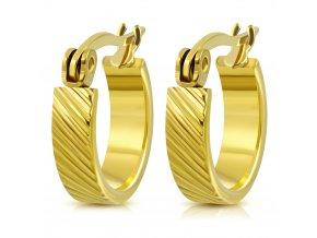 Okrúhle náušnice pre ženu, oceľ zlatej farby, šikmé ryhy 13 mm