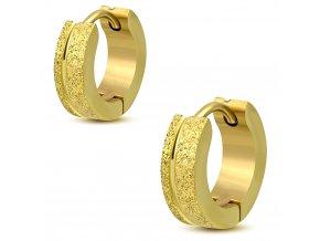 Náušnice z chirurgickej ocele, pieskované pásy zlatá farba