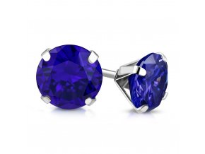 Dámske náušnice z ocele, kráľovsky modrý zirkón 9 mm