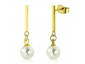 Visiace náušnice zlatej farby, chirurgická oceľ, perla