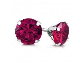 Dámske náušnice z ocele, ružový zirkón