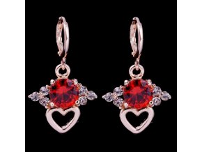 Zirkónove visiace náušnice, srdce, červený kamienok, bižutéria