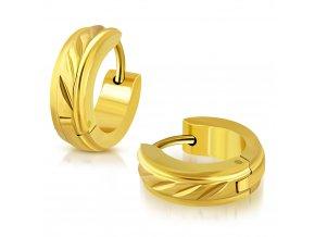 Dámske náušnice z ocele, zlatá farba, stredový pás so zárezmi