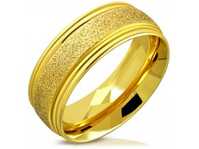 Pieskovaný prsteň z chirurgickej ocele, zlatá farba a ryhy 8 mm