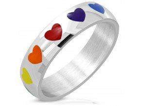 Prsteň z chirurgickej ocele, farebné dúhové glazúrované srdcia