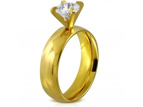 Zásnubný prsteň z ocele, číry kamienok, zlatá farba Solitér