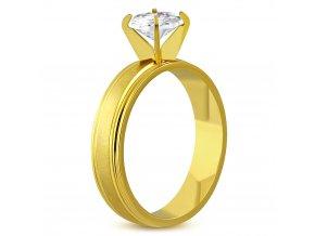 Zásnubný prsteň z ocele, číry kamienok, zlatá farba, saténový pás Solitér (1)