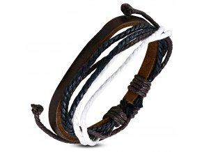 Multi náramok zo šnúrok a umelej kože, čierna, biela a hnedá farba bižutéria