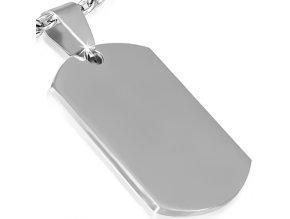 Vojenská známka striebornej farby, hladká chirurgická oceľ - 50x28 mm
