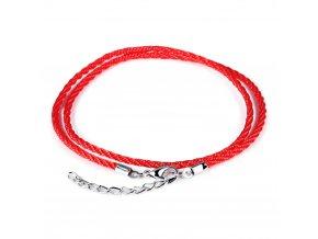 Dvojitý červený náramok alebo náhrdelník proti urieknutiu, šnúrka, retiazka a karabínka (1)