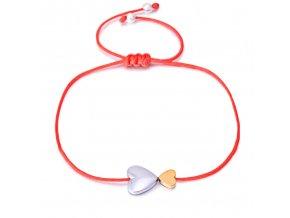 Červený náramok proti urieknutiu, šnúrka a dva srdcia bižutéria (1)