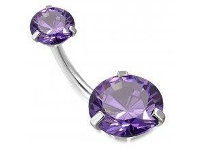 Piercing do pupka z chirurgickej ocele, fialový okrúhly zirkón (1)