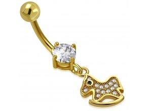 Piercing do brucha z ocele zlatej farby, hojdací koník so zirkónmi (1)