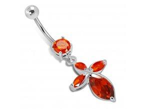 Piercing do brucha z ocele striebornej farby, červené kamienky, kríž (1)