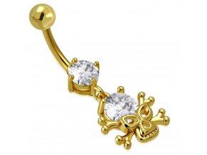 Piercing do brucha z ocele zlatej farby, číre zirkóny a lebka (1)