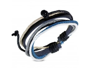 Multi náramok z čiernej umelej kože a šnúrok, biela, blankytná a šedá farba bižutéria
