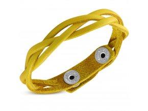 Kožený pletený náramok, vrkoč žltej farby bižutéria (1)