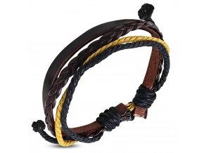 Multi náramok z hnedej umelej kože, žltá, čierna a hnedá šnúrka bižutéria