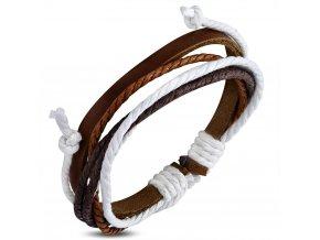 Rozťahovací náramok z hnedej kože a šnúrok, hnedá a biela farba bižutéria