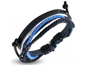 Rozťahovací náramok z kože a šnúrok, čierna, biela a modrá farba bižutéria