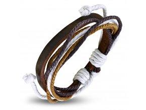 Rozťahovací náramok z hnedej kože a šnúrok hnedej a bielej farby bižutéria