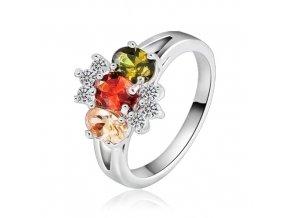 Prsteň s farebnými kamienkami, kvietok, bižutéria