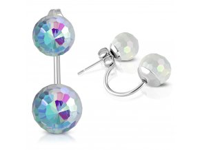 Dámské náušnice z ocele, dve disco guličky dúhovej farby (1)