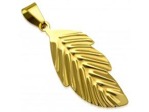 Prívesok na retiazku, väčší list z chirurgickej ocele zlatej farby (1)