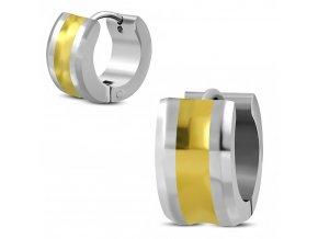 Okrúhle sedlové náušnice z ocele, zlatá a strieborná farba, hladký povrch