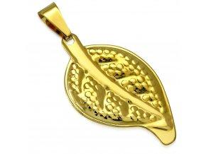 Prívesok na retiazku, gravírovaný list z ocele zlatej farby (1)