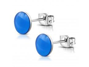 Náušnice pre ženu z chirurgickej ocele, modrá glazúra 6 mm