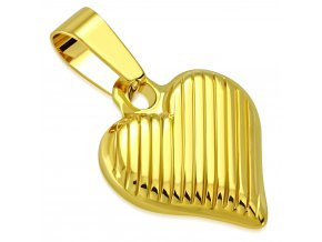 Prívesok 3D gravírované srdce z chirurgickej ocele, zlatá farba (1)