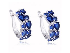 Dámske náušnice s modrými zirkónmi, strieborná farba bižutéria
