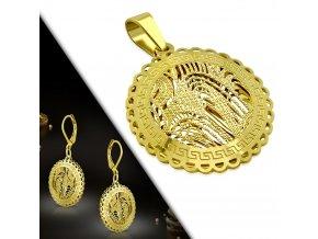3D dámske náušnice a prívesok zlatej farby, oceľ, gravírovaný grécky kľúč