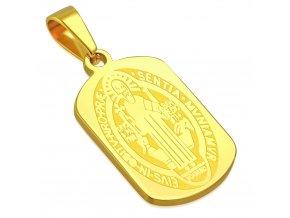 Malý prívesok z chirurgickej ocele zlatej farby, Sv. Benedikt (1)