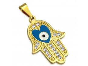 Prívesok z ocele, ruka Fatimy zlatej farby, modré diabolské oko a číre zirkóny (1)