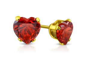 Náušnice srdce s červeným zirkónom, oceľ zlatej farby 5 mm