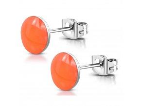 Náušnice pre ženu z chirurgickej ocele, neónovo oranžová glazúra 6 mm
