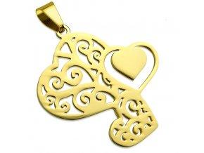 Prívesok na retiazku z ocele, tri gravírované srdcia, zlatá farba (1)